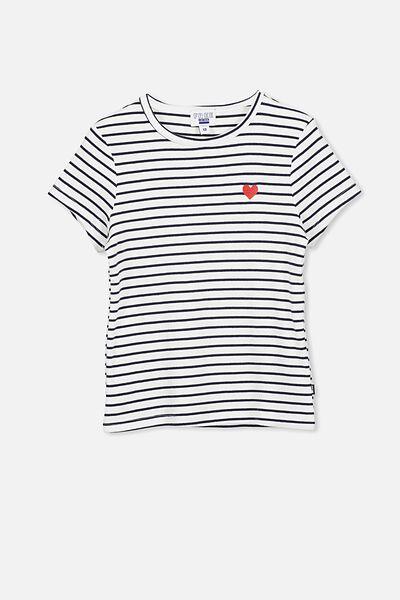 Jayde Ribbed Short Sleeve Top, WHITE/NAVY STRIPE/HEART
