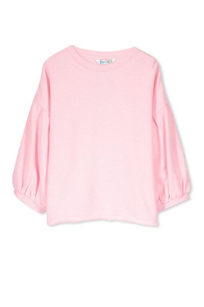 Ricci Ruffle Sleeve Fleece Top, PINK SORBET