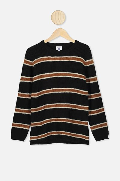 Drake Knit Crew, BLACK TAN STRIPE