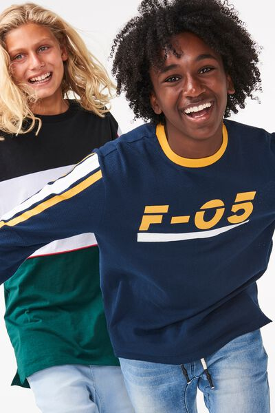 Long Sleeve Tee, NAVY/GOLD GLOW F05