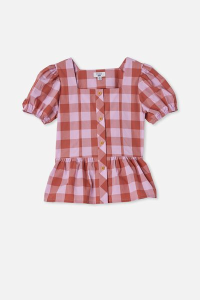 Shiloh Puff Sleeve Top, CHUTNEY/PALE VIOLET GINGHAM