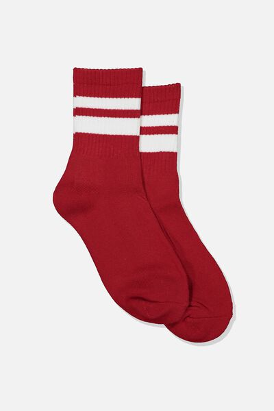 Ribbed Crew Socks, S BANDS RED AND WHITE