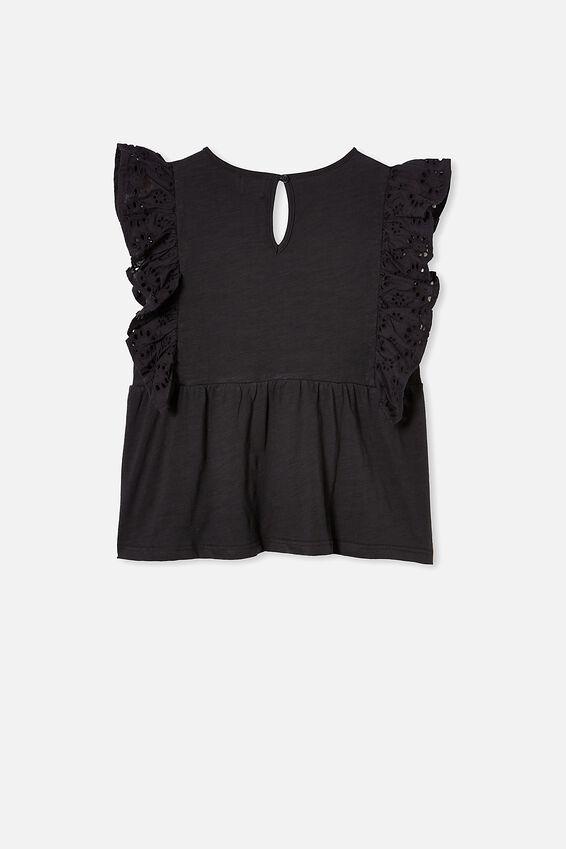 Jade Short Sleeve Frill Top, PHANTOM