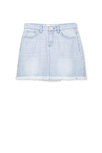 Avril Frayed Hem Skirt, PALE INDIGO