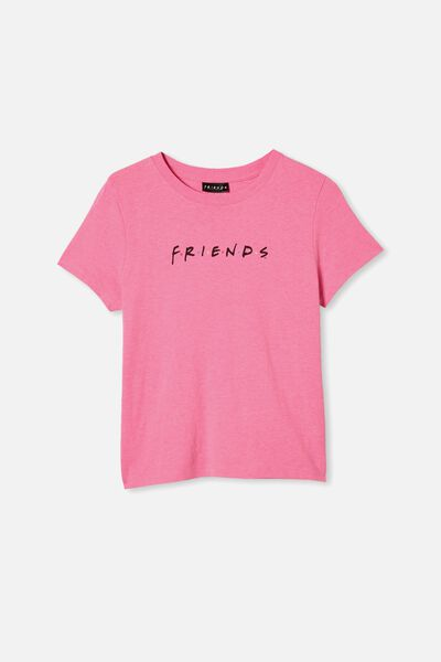 Girls Licence Classic Ss Tee, LCN WB PINK PUNCH/FRIENDS LOGO