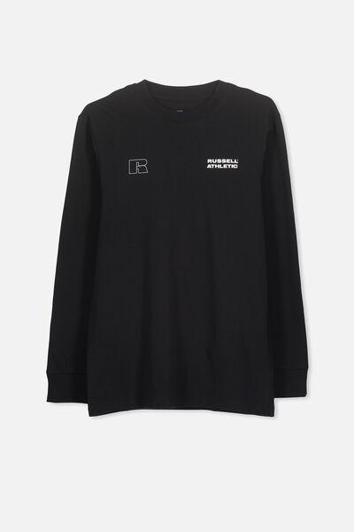 Russell Long Sleeve Tee, LCN RUS/BLACK/BACK LOGO