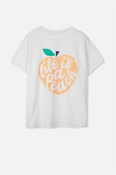 Millie Sleep Tee, WHITE/LIFE IS A PEACH