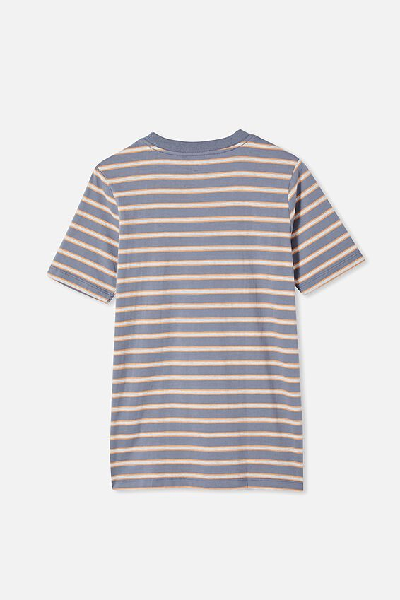 Free Boys Skater Short Sleeve Tee, SLATE / MELON POP STRIPE