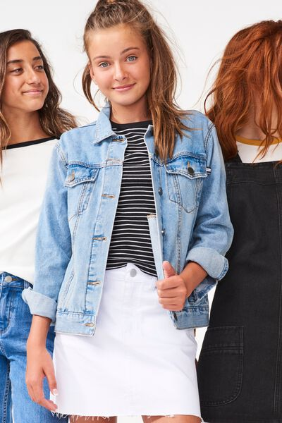 90S Denim Skirt, WHITE