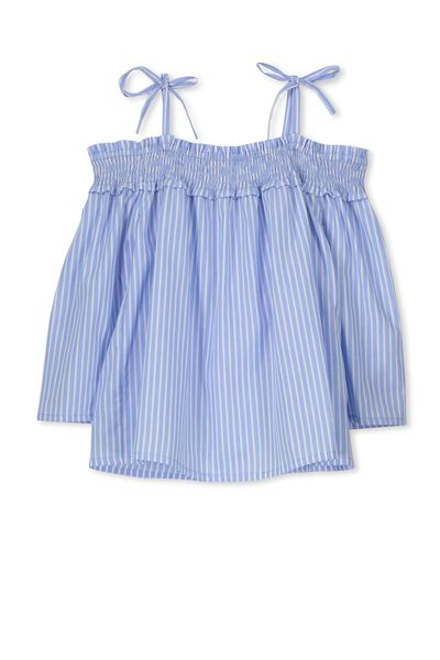 Ruched Off Shoulder Top, CHAMBRAY STRIPE