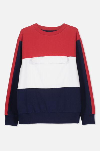 Crew Neck Jumper, NAVY/RED/POCKET