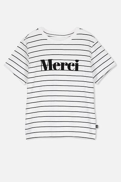 Girls Classic T-Shirt, WHITE/STRIPE MERCI