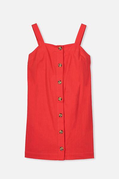 Button Front Dress, CHERRY