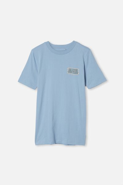 Free Boys Skater Short Sleeve Tee, DUSTY BLUE/FLOW