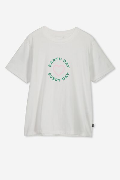 Girls Graphic T-Shirt, WHITE/EARTH DAY