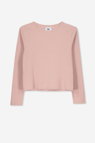 Rib Long Sleeve Tee, DUSTY ROSE