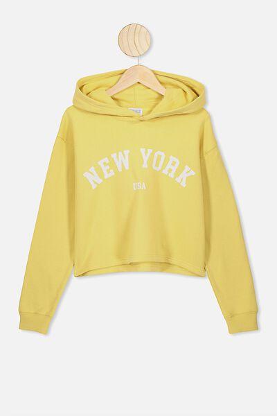 Serena Crop Hoodie, CORN SILK/NEW YORK