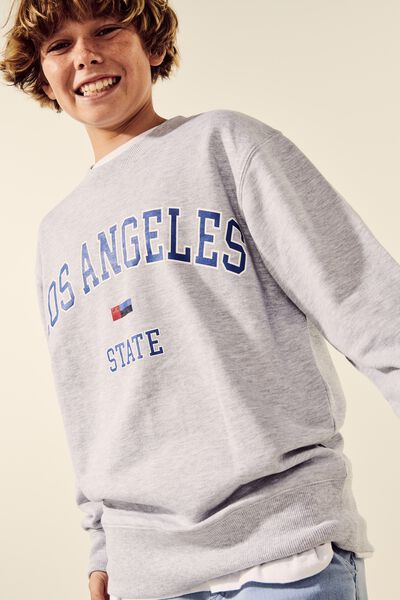 Crew Neck Jumper, SOFT GREY MARLE/LA