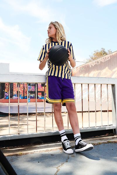Basketball Short, ROYAL PURPLE/YELLOW TAPE