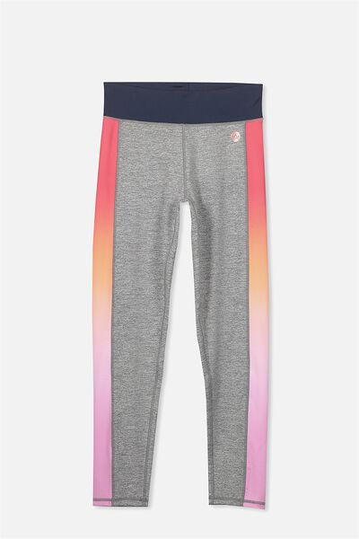 Free Active Full Length Legging, MID GREY MARLE/GRADIENT PANEL