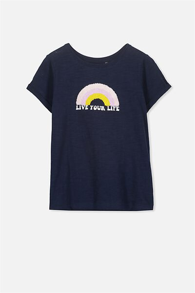 Gracie Short Sleeve Tee, OBRIEN BLUE/LIVE YOUR LIFE