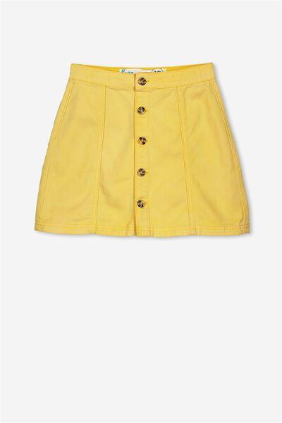 Button Denim Skirt, YOKE YELLOW