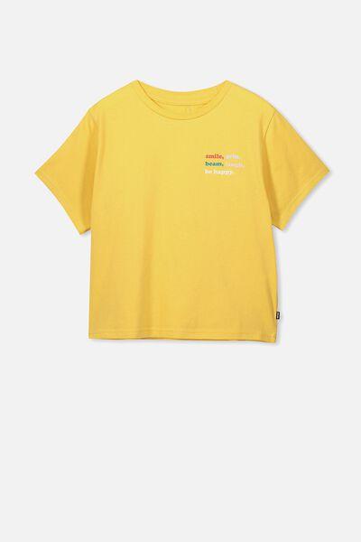 Boxy T-Shirt, SOFT YELLOW/BE HAPPY