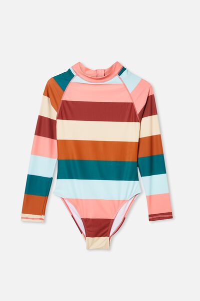 Lindsay Long Sleeve One Piece, MULTI STRIPE