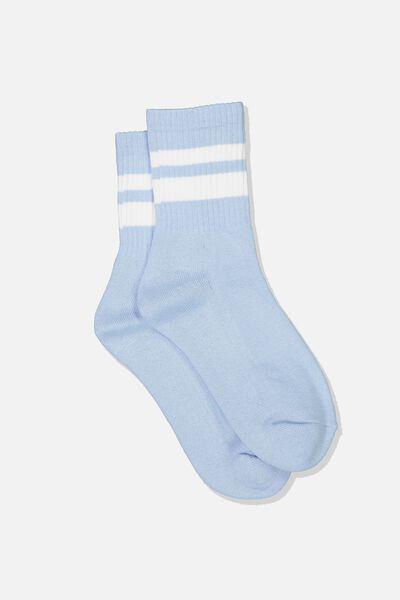 Ribbed Crew Socks, S BANDS POWDER BLUE
