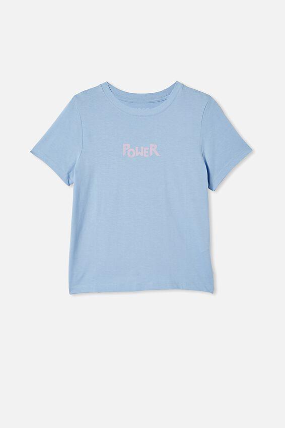 Girls Classic Ss Tee, DUSK BLUE/POWER ISN T GIVEN