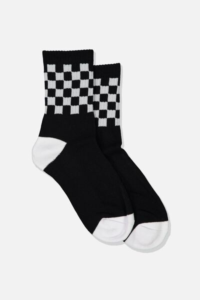 Ribbed Crew Socks, CHECK BLACK