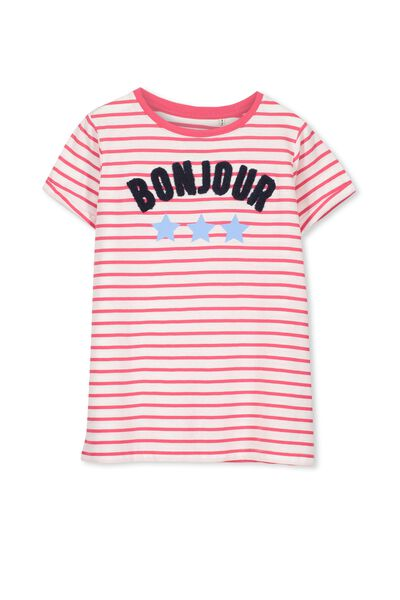 Gracie Short Sleeve Tee, STRIPE BONJOUR