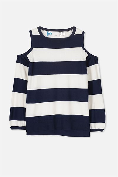 Spring Cut Out Shoulder Knit, NAVY/WHITE STRIPE