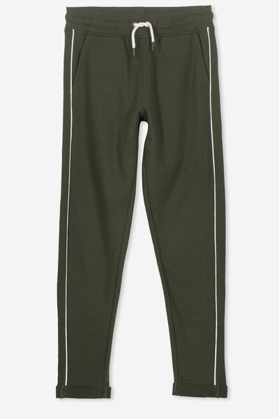 Keeper Girls Track Pant, ARMY KHAKI/PIPING