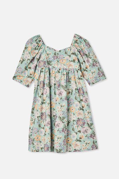 Juniper Short Sleeve Dress, DUCK EGG PAINTERLY FLORAL