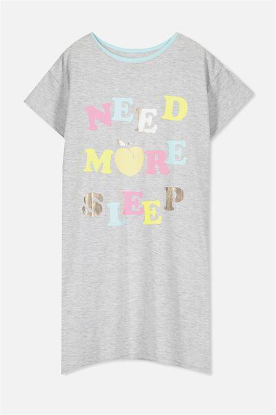 Martha Ss Nightie, SOFT GREY MARLE/MORE SLEEP