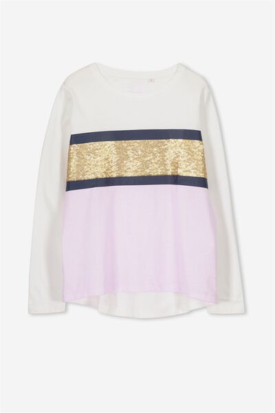 Charlie Long Sleeve Tee, VANILLA/SOFT  MAUVE/GOLD