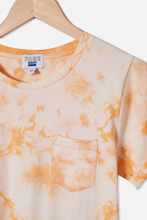 Toni Tshirt Sleeve Dress, APRICOT SUN TIE DYE