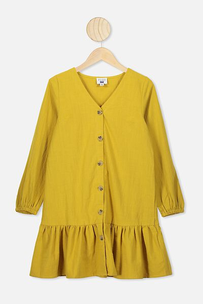 Leila Long Sleeve Dress, KEEN AS MUSTARD