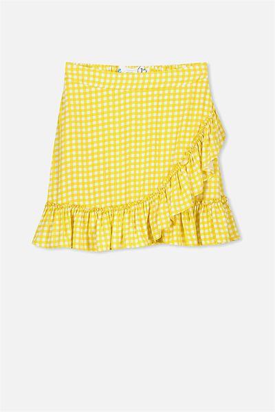 Winnie Wrap Skirt, HONEY MUSTARD/GINGHAM