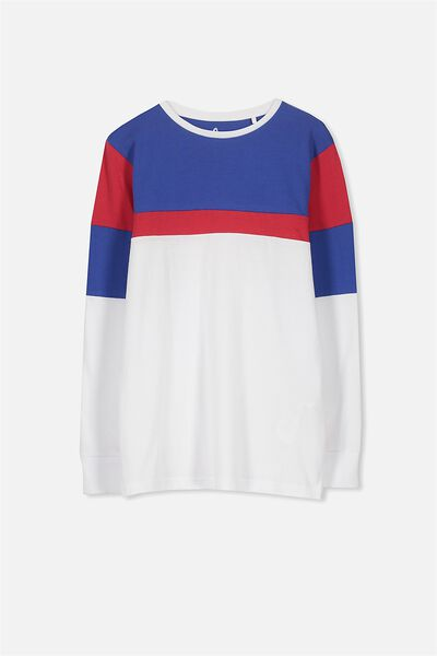 Bobby Long Sleeve Tee, BLUE/RED PANEL