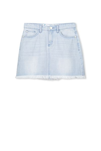 Avril Frayed Hem Skirt, PALE INDIGO