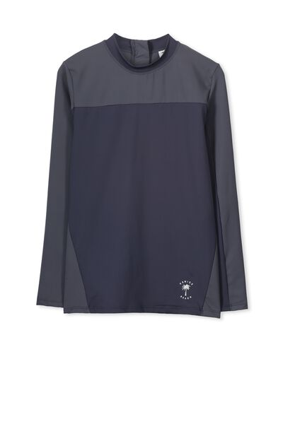 Dan Long Sleeve Rashie, GRAPHITE/TRIANGLE PALM