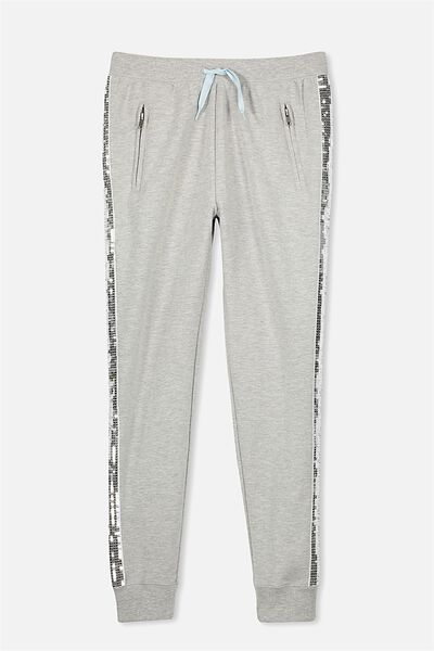 Tori Tape Trackpant, MID GREY MARLE/SILVER SEQUIN