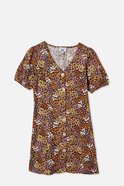 Luna Short Sleeve Dress, PHANTOM/FLORAL FIELDS
