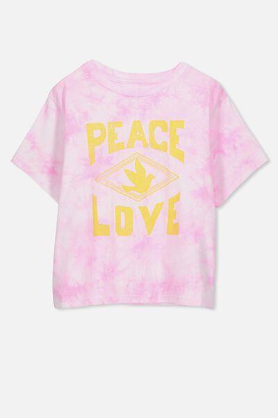 Boxy T-Shirt, PINK TIE DYE/PEACE LOVE