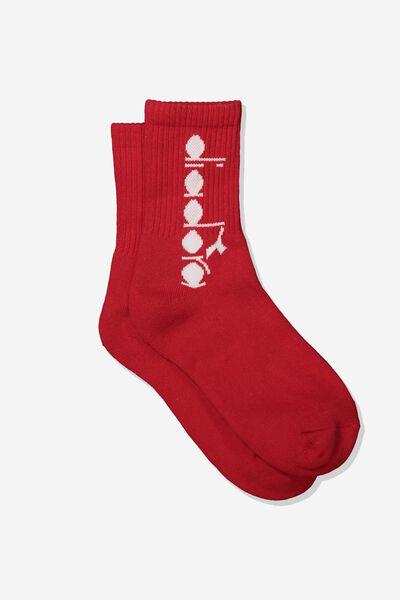Diadora Crew Socks, D RED LOGO