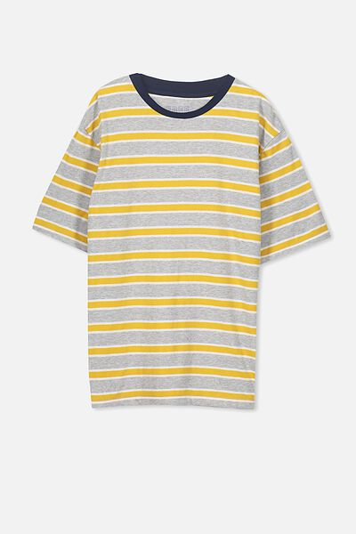 Oversized Tee, GREY MARLE/GOLD GLOW STRIPE
