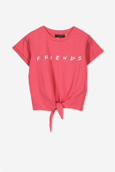 Lucy Licence Tee, TIE FRONT CRUSHED RASPBERRY/LCN FRIENDS