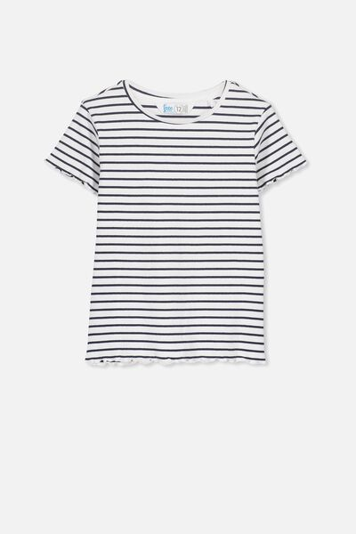 Jayde Ribbed Short Sleeve Top, WHITE/OBRIEN BLUE